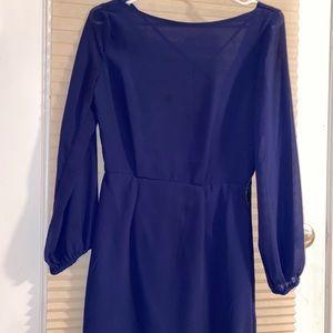 NAVY BLUE LONG SLEEVE OPEN BACK DRESS